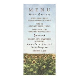 Sunflower Watercolor Country Wedding Menu Cards
