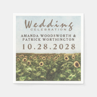 Sunflower Watercolor Country Wedding Napkins Disposable Napkins