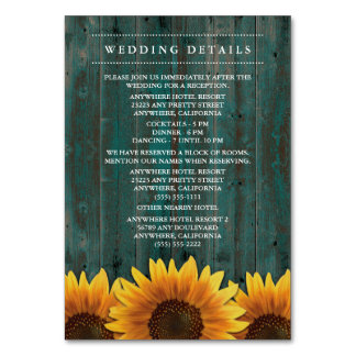 Sunflower Wedding Reception + Accommodation Cards Table Cards