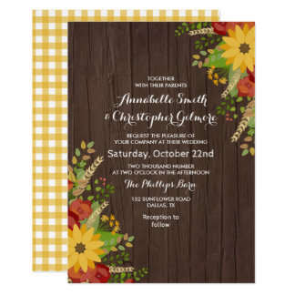 Sunflower & Wood Grain Rustic Wedding Card