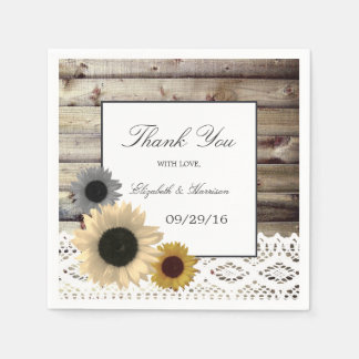 Sunflowers and Lace Rustic Wood Wedding Paper Napkin