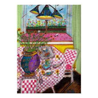 Sunflowers at Breakfast Table Poster