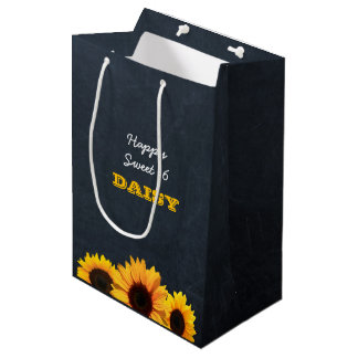 Sunflowers & Chalkboard Personalised Gift Bag
