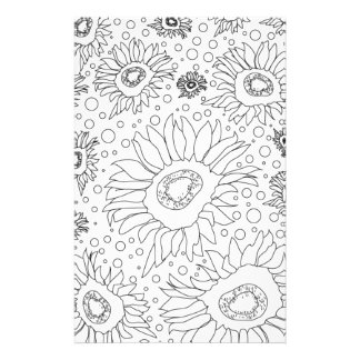 Sunflowers Coloring Page Stationery