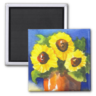 Sunflowers in a Clay Pot Square Magnet