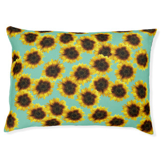 Sunflowers In Green Indoor Dog Bed - Large