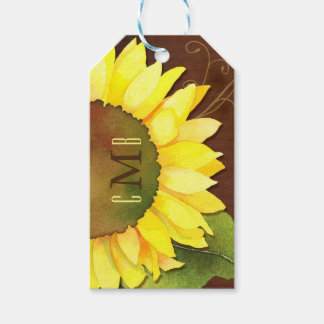 Sunflowers n Monograms Wedding Favour or Gift Tags