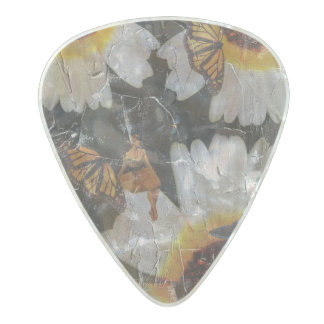 Sunflowers Woman Butterfly Grunge Pearl Celluloid Guitar Pick