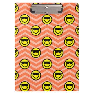 Sunglasses Happy Face on Coral Orange Chevron Clipboard