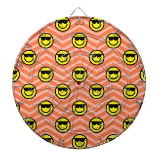 Sunglasses Happy Face on Coral Orange Chevron Dart Board