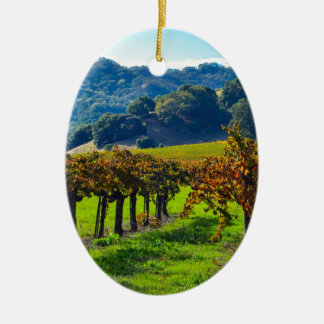 Sunny Autumn Vineyard Christmas Ornament