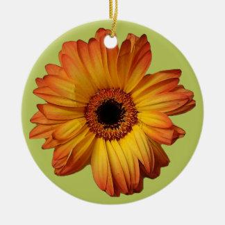 Sunny Orange gerbera flower bloom Round Ceramic Decoration