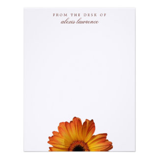Sunny Orange gerbera flower from the desk of note Personalized Invite