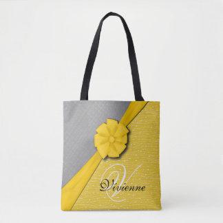 Sunny Ribbon, Two Tone Yellow Waves Grey Fabric Tote Bag