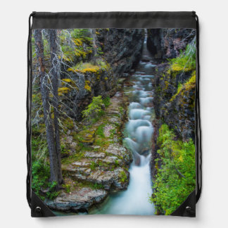 Sunrift Gorge In Glacier National Park, Montana 2 Drawstring Bag