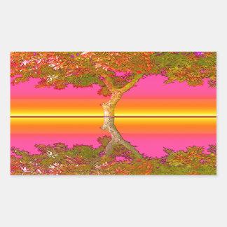 Sunrise and Sunset with Tree Rectangular Sticker