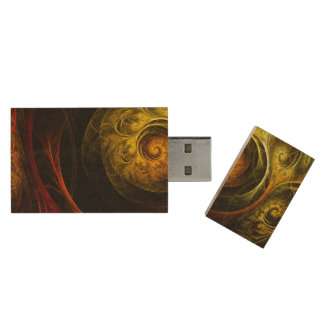 Sunrise Floral Red Abstract Art Wood USB 2.0 Flash Drive