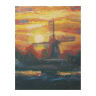 Sunrise/ Sunset Landscape Windmill Wood Print