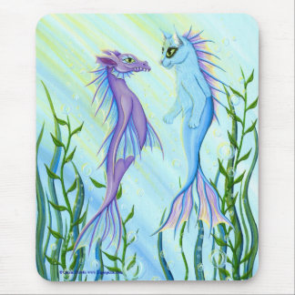 Sunrise Swim, Sea Dragon & Mermaid Cat Fantasy Art Mouse Pad