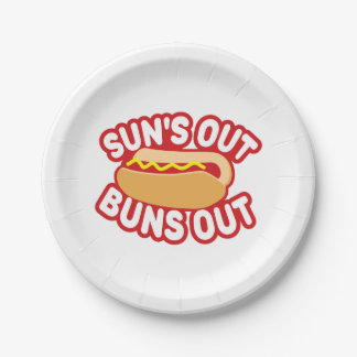 Suns Out Buns Out 7 Inch Paper Plate