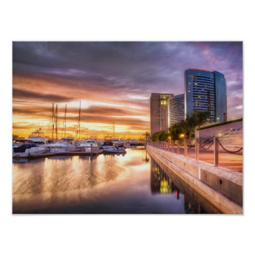 Sunset at City Harbour San Diego California Poster