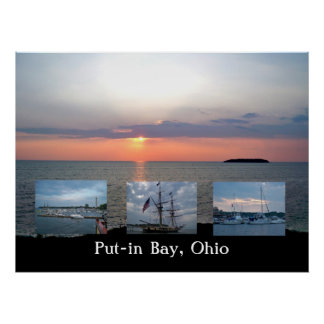 Sunset at Lake Erie Collage Poster