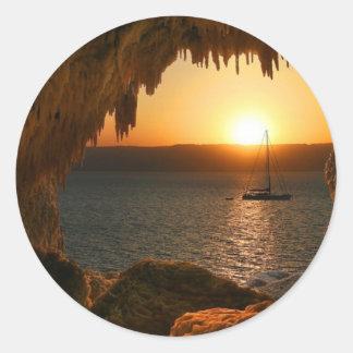 Sunset at sea round sticker