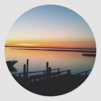 sunset at the shore sticker