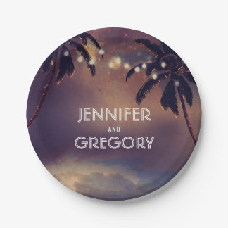 Sunset Beach and String Lights Palms Wedding 7 Inch Paper Plate
