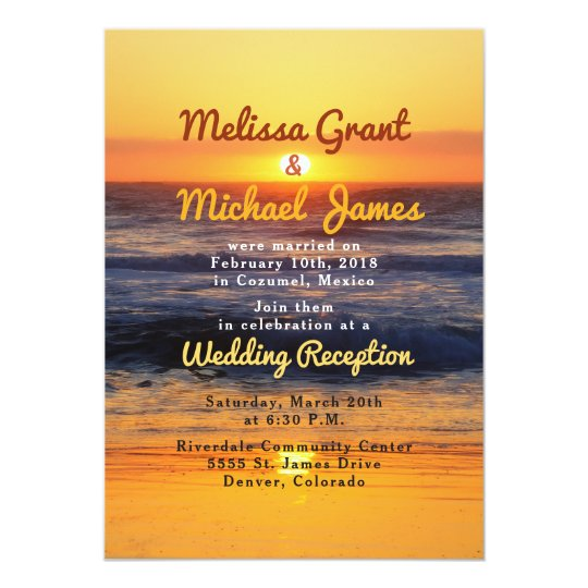 Sunset Beach Post Wedding Reception Only Invite