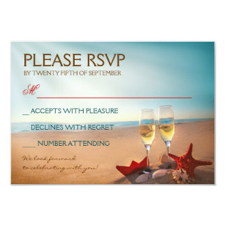 Sunset Beach Romantic Wedding RSVP Card