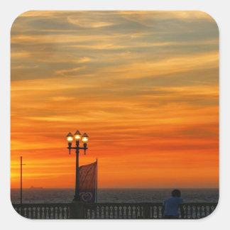 Sunset beach square sticker