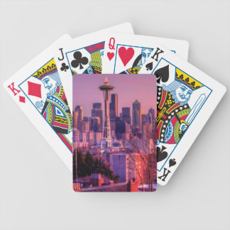 Sunset behind Seattle skyline from Kerry Park. Bicycle Playing Cards