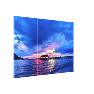 Sunset from Hanalei Bay - Kauai, Hawaii Stretched Canvas Print