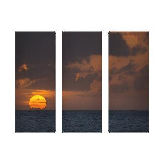 Sunset from Ke'e Beach - Kauai, Hawaii Stretched Canvas Print