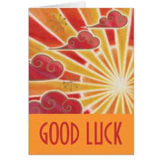Sunset 'Good Luck' card orange