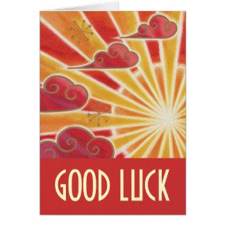 Sunset 'Good Luck' card red