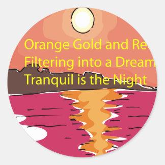 Sunset Haiku Classic Round Sticker