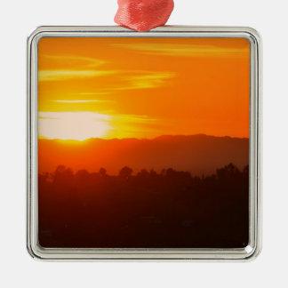 Sunset Hollywood Los Angeles Orange Sky Orange Sun Christmas Ornament