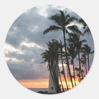 Sunset in Hawaii Classic Round Sticker