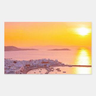 Sunset in Mykonos, Greece Rectangular Sticker