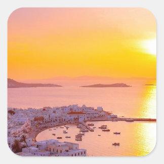 Sunset in Mykonos, Greece Square Sticker