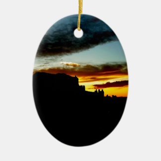 Sunset La Sal Mountains Viewpoint Arches National Ceramic Oval Decoration