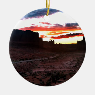 Sunset La Sal Mountains Viewpoint Arches National Round Ceramic Decoration