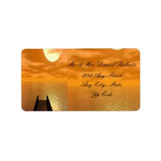 Sunset over A Dock Wedding Address Label