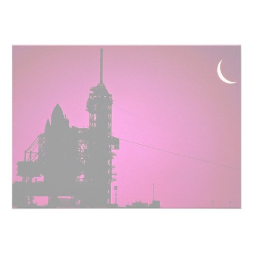 Sunset over launch pad with shuttle, Kennedy Space Custom Invitations