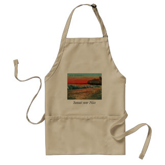 Sunset over the beach at Nice France Adult Apron