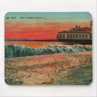 Sunset over the beach at Nice France Mouse Pad