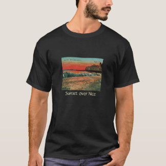 Sunset over the beach at Nice France T-Shirt