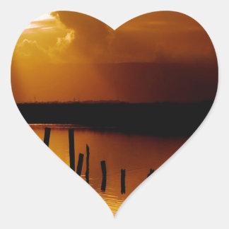 Sunset Peace And Harmony Heart Sticker